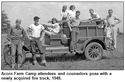 Acorn Farm Camp campers with firetruck, 1948.