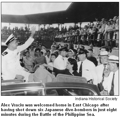 Alex Vraciu was welcomed home in East Chicago after having shot down six Japanese dive-bombers in just eight minutes during the Battle of the Philippine Sea. Image courtesy Indiana Historical Society.