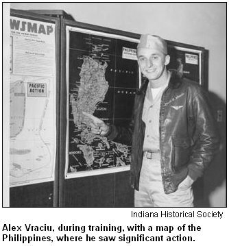 Alex Vraciu, during training, with a map of the Philippines, where he saw significant action. Image courtesy of the Indiana Historical Society.