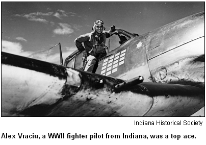 Alex Vraciu, a WWII fighter pilot from Indiana, was a top ace. Image courtesy Indiana Historical Society.