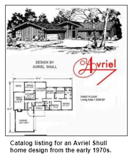 Catalog listing for an Ariel Shull home design from the early 1970s.