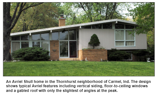 An Avriel Shull home in the Thornhurst neighborhood of Carmel, Ind. The design shows typical Avriel features including vertical siding, floor-to-ceiling windows and a gabled roof with only the slightest of angles at the peak.