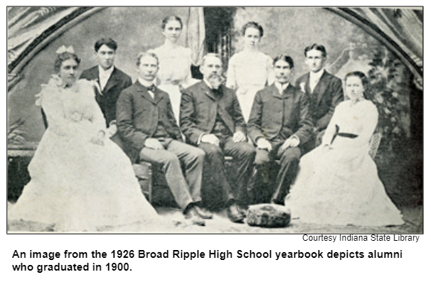 An image from the 1926 Broad Ripple High School yearbook depicts alumni who graduated in 1900.