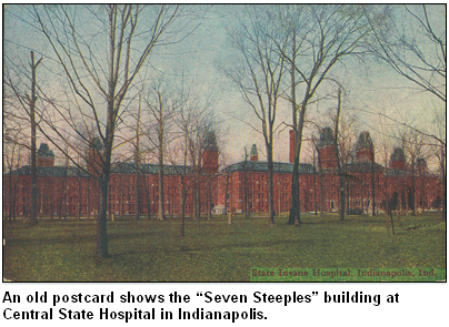 "Central State Hospital's ""seven steeples"" building, image from long-ago postcard."