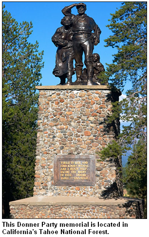 Donner Party memorial statue in California's Tahoe National Forest.