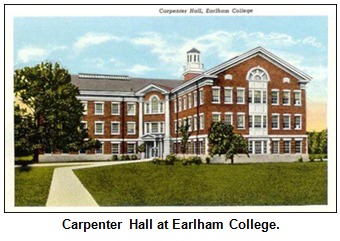 Postcard of Earlham College's Carpenter Hall.