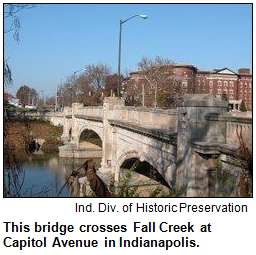 Bridge across Fall Creek in Indianapolis.