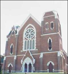 The former Fletcher Place United Methodist Church at the corner of East, Fletcher, and Virginia, now available as condominiums.