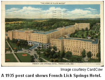 French Lick Springs Hotel postcard from 1935.
