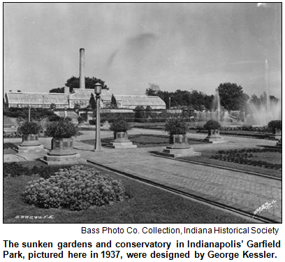 The sunken gardens and conservatory in Indianapolis' Garfield Park, pictured here in 1937, were designed by George Kessler. Bass Photo Co. Collection, Indiana Historical Society.
