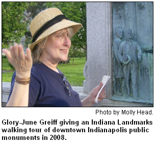 Glory-June Greiff giving an Indiana Landmarks walking tour of downtown Indianapolis public monuments in 2008. Photo by Molly Head.
