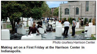 Making art on a First Friday at the Harrison Center in Indianapolis. Photo courtesy Harrison Center.