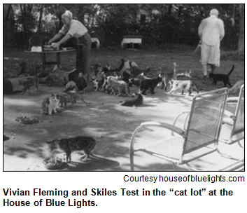 "Vivian Fleming and Skiles Test in the ""cat lot"" at the House of Blue Lights, with dozens of cats milling around their feet."