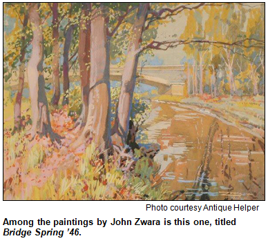 Painting by John Zwara, titled Bridge Spring '46. Image courtesy Antique Helper.