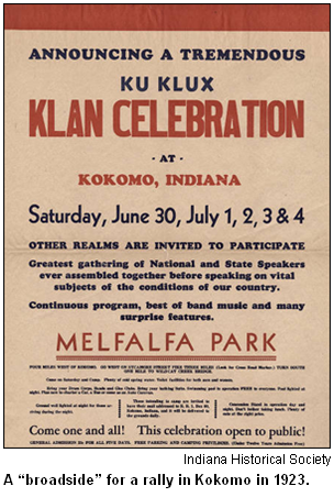 A broadside for a rally in Kokomo in 1923. Image courtesy Indiana Historical Society.