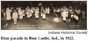 Klan parade in New Castle, Ind., in 1922. Image courtesy Indiana Historical Society.