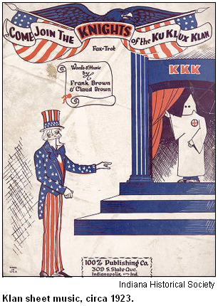 Klan sheet music, circa 1923. Image courtesy Indiana Historical Society.