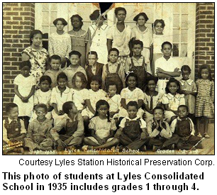 Lyles Consolidated School, 1935, grades 1 through 4.