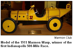 Model of the 1911 Marmon Wasp, winner of the first Indianapolis 500-Mile Race. Image courtesy the Marmon Club.