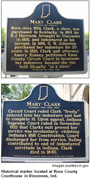 Historical marker located at Knox County Courthouse in Vincennes, Ind. Images courtesy in.gov.