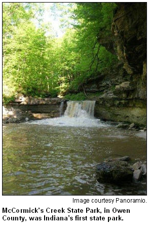 McCormick's Creek State Park, in Owen County, features this waterfall.
