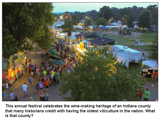 This annual festival celebrates the wine-making heritage of an Indiana county that many historians credit with having the oldest viticulture in the nation. What is that county?