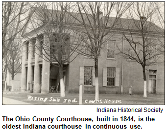 The Ohio County courthouse. Image courtesy Indiana Historical Society.