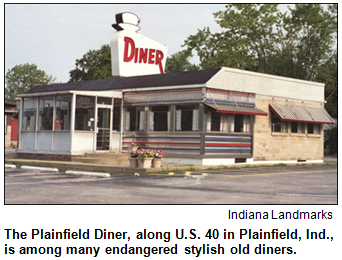Plainfield Diner in Plainfield, Ind., is among many endangered stylish old diners. Exterior image.