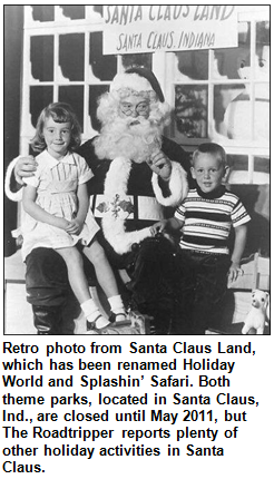 Retro photo of Santa Claus with two children at Santa Claus Land in Santa Claus, Ind.