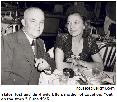 "Skiles Test and third wife Ellen, mother of Louellen, ""out on the town."" Circa 1946. Photo courtesy of houseofbluelights.com."