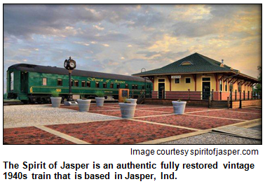 The Spirit of Jasper is an authentic fully restored vintage 1940s train that is based in Jasper, Ind. Image courtesy spiritofjasper.com.