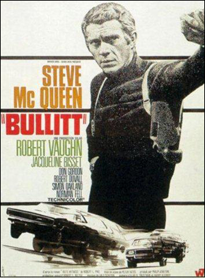 Steve McQueen Bullitt movie poster.