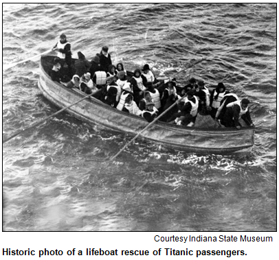 Historic photo of a lifeboat rescue of Titanic passengers. Image courtesy Indiana State Museum.
