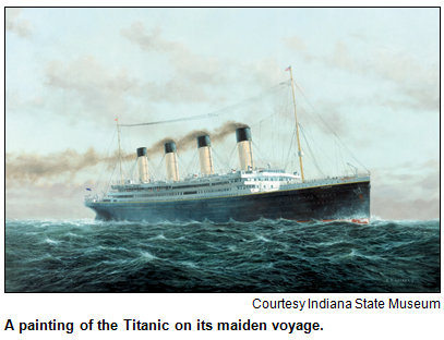 Painting of the Titanic on it maiden voyage. Courtesy Indiana State Museum.