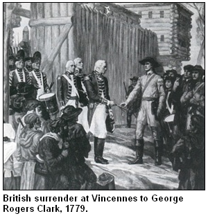 British surrender at Vincennes in 1779.
