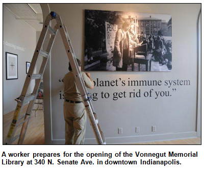 A worker prepares for the opening of the Vonnegut Memorial Library at 340 N. Senate Ave. in downtown Indianapolis.