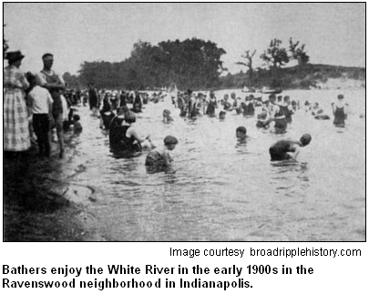 Bathers enjoy the White River in the early 1900s in the Ravenswood neighborhood in Indianapolis. Image courtesy broadripplehistory.com.