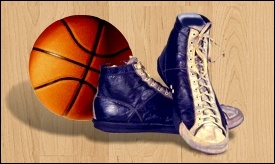 Basketball and shoes.