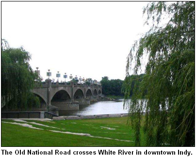 The Old National Road crosses White River in downtown Indianapolis.