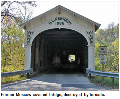 Former Moscow covered bridge, destroyed by tornado.