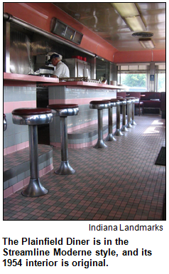 The Plainfield Diner is in the Streamline Moderne style, and its 1954 interior is original.