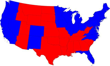 2008 presidential election results by state, in red and blue.