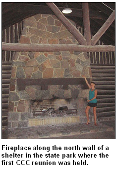 Fireplace along the north wall of a shelter in the state park where the first CCC reunion was held.